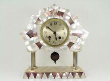 Wonderful Art Deco Iridescent White & Brown Mother of Pearl Mantel Clock