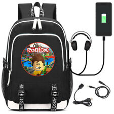 Game Roblox Backpack USB Laptop Shoulder Bag Travel Packsack Student School Bag