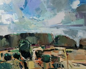 JOSE TRUJILLO Oil Painting IMPRESSIONISM LARGE 24X30 LANDSCAPE CLOUDS HILL NR