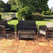 Sitzgarnitur 4 tlg Braun Polyrattan Lounge Gartenmöbel Sitzgruppe Essgruppe 🌴