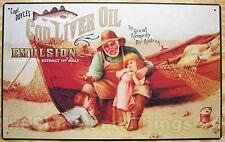 Cod Liver Oil Remedy TIN SIGN vtg ad boat fish nautical seafood wall art decor