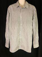 Calvin Klein Men's Sz XL Gray Striped Button Up Long Sleeve Shirt Modern Fit EUC