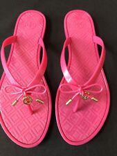 Tory Burch Pink Fuschia Jelly Bow Thong Flip Flops Sandals Logo Size 10 EUC