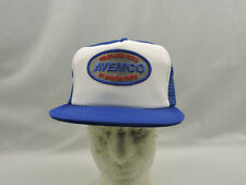 Vintage Aviation People Avemco Trucker Hat Cap Mesh Snapback Blue White Patch