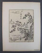 Ooka shunboku (1680-1763 Giappone) - ukiyo-e taglio di legno-persone su rocce (56)