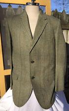 Vtg Men Wool Plaid Blazer Clubman Four Seasons Green Gold Navy Horse Lining 44R