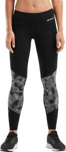 2XU Fitness Mid Rise Womens Training Tights Black Colour Block Mild Compression