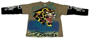 ED HARDY by Christian Audigier Mocha Brown Cotton Long Sleeve T-Shirt -3/4 Years