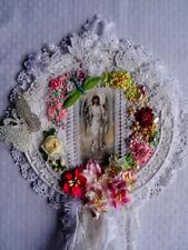 Handmade Mixed Media Ange Wall Hanging-SWAROVSKI, ruban de soie, en dentelle vintage
