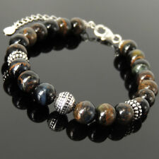 Life Energy Bracelet Rare Mixed Blue Tiger Eye Stones Sterling Silver Chain 1495