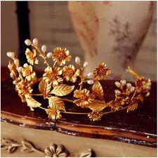 Antique Wedding Queen Crown Tiara Bridal Crystal Headpiece Leaf Headband Jewelry