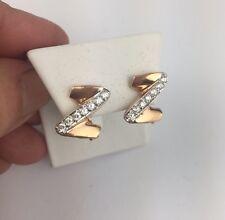 Vintage Russian USSR 14 K Gold Rose gold Russian Lock Earring Cubic Zirconium