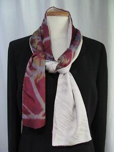 "Silk Scarf Handmade From Vintage Japanese Kimono Fabric Pink ""Raspberry Ikat"""