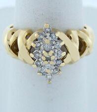 Mujer 14k Amarillo Oro 1/4ct 15 Diamante Redondo Cóctel CLUSTER x Banda