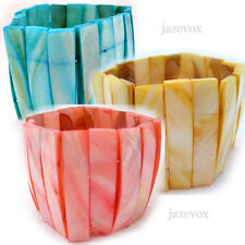 """NEW Womens Bangle Bracelet Mother of Pearl Shell Shells Blue/Yellow/Pink 2""""-wide"""