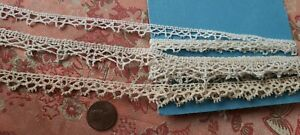 3 TINY PICOTED vintage French Lace  Trim 5+ YARDS  TORCHON cotton  lot