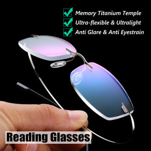 ltralight Titanium Rimless Rectangular Reading Glasses Spectacles Eyeglass-