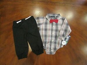 Little Rebels Baby Boys 3 Piece Outfit 6-9 Month Christmas Holiday Top Pants Tie