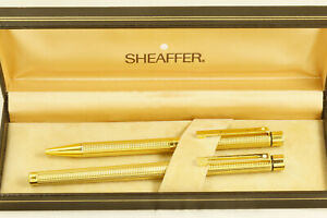 Vintage Sheaffer Targs Slimline fountain pen/ballpoint set, boxed, exc cond.