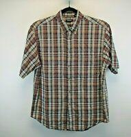 Arrow S/S Men's Large Button Collar Button Up Shirt Red, White, Blue & Tan Plaid