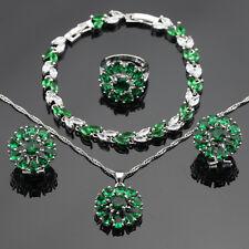 White Topaz Green Emerald  925 Silver Necklace Pendant Earrings Ring Bracelet