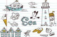 Sea Art Postcard, Summer Holidays - Seaside Doodles 62H