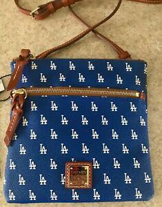 DOONEY & BOURKE BASEBALL MLB LA DODGERS BLUE DOUBLE ZIP CROSSBODY LOGO BAG  NWT