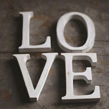 """LOVE"" LARGE SHABBY CHIC VINTAGE WHITEWASH WOODEN LETTERS SIGN FREESTANDING"