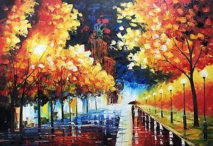 Rain Night, Oil Painting Hand Painted, 61 X 91 cm