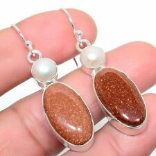 "Red Goldstone, Pearl Gemstone Handmade Fashion Jewelry Earring 2.0"" SE7612"