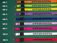 Hunde Pfoten mit Wunschname 2 Schlüsselband in Wunschfarbe ca 50 cm Neu