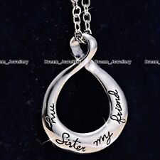 My Sister My Friend Engrave Infinity Silver Necklace Jewelry Best Gifts for Her