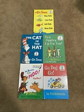 5 Dr Seuss Lot One Fish Two Fish Go Do Go Mr Brown Moo Ten Apples Cat in the Hat