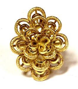 18k yellow gold fancy flower womens ring 13.2g estate vintage antique