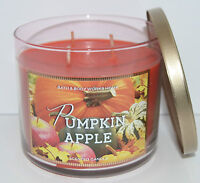NEW BATH & BODY WORKS PUMPKIN APPLE SCENTED CANDLE 3 WICK 14.5 OZ LARGE CINNAMON