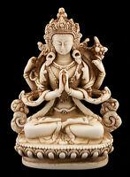 Chenresig Avalokitesvara Estatua Tibetano Resina Buda 11 CM Blanco Antiguo 6044