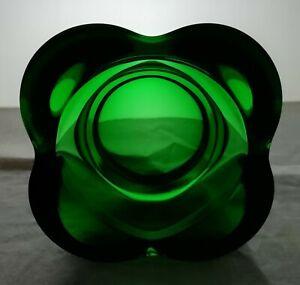 Mid Century green glass dish. (556)