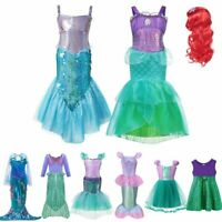 Girls Little Mermaid Dress Up Costume Summer Ariel Dresses Kids Birthday Party