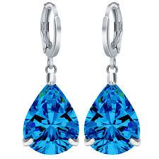 Women 925 Silver Pear Cut Blue Topaz Dangle Drop Huggie Earrings Wedding Jewelry