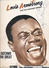 Louis Armstrong vintage 1960 Program signed w/ band autographs, ticket stub JSA