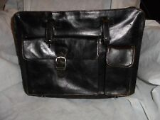 S Babila Milano Italy BLACK Leather Bag/Satchel/Briefcase WITH MANY POCKETS