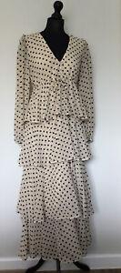 *BNWOT* ZARA UK/S Cream & Black Spot Floaty Layered Flounced Midi Maxi Dress