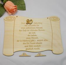 gravierte Glückwünsche zum Geburtstag auf einer Holztafel, Geschenk Geb Zahl 80