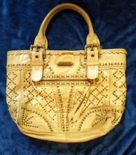 ISABELLA FIORE Cream Leather Studded Brass Zip Tote Bag Dbl Handle Lrg