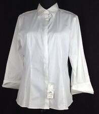 Brooks Brothers Women Fitted White Shirt  3/4 Sleeve Size 14 Covered Button Flap