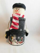 "Set Of 3 Stackable Christmas Snowman Gift Cookie  Boxes 16"" Tall"