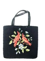 Julius Resnick Needlepoint Purse Bag Vintage Black Red Bird Pocketbook Inside