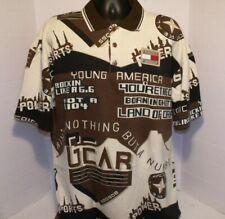 Tommy Hilfiger Short Sleeve Polo Shirt  All Over Print Name Tag Flag SZ XL  VGC