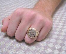 MEN'S LARGE 10K YELLOW GOLD 1.25 CARAT PAVE DIAMOND RING (size 10)