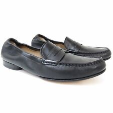SALVATORE FERRAGAMO Women's Black Leather Loafer Slip-On Flats - Size 10.5 Italy